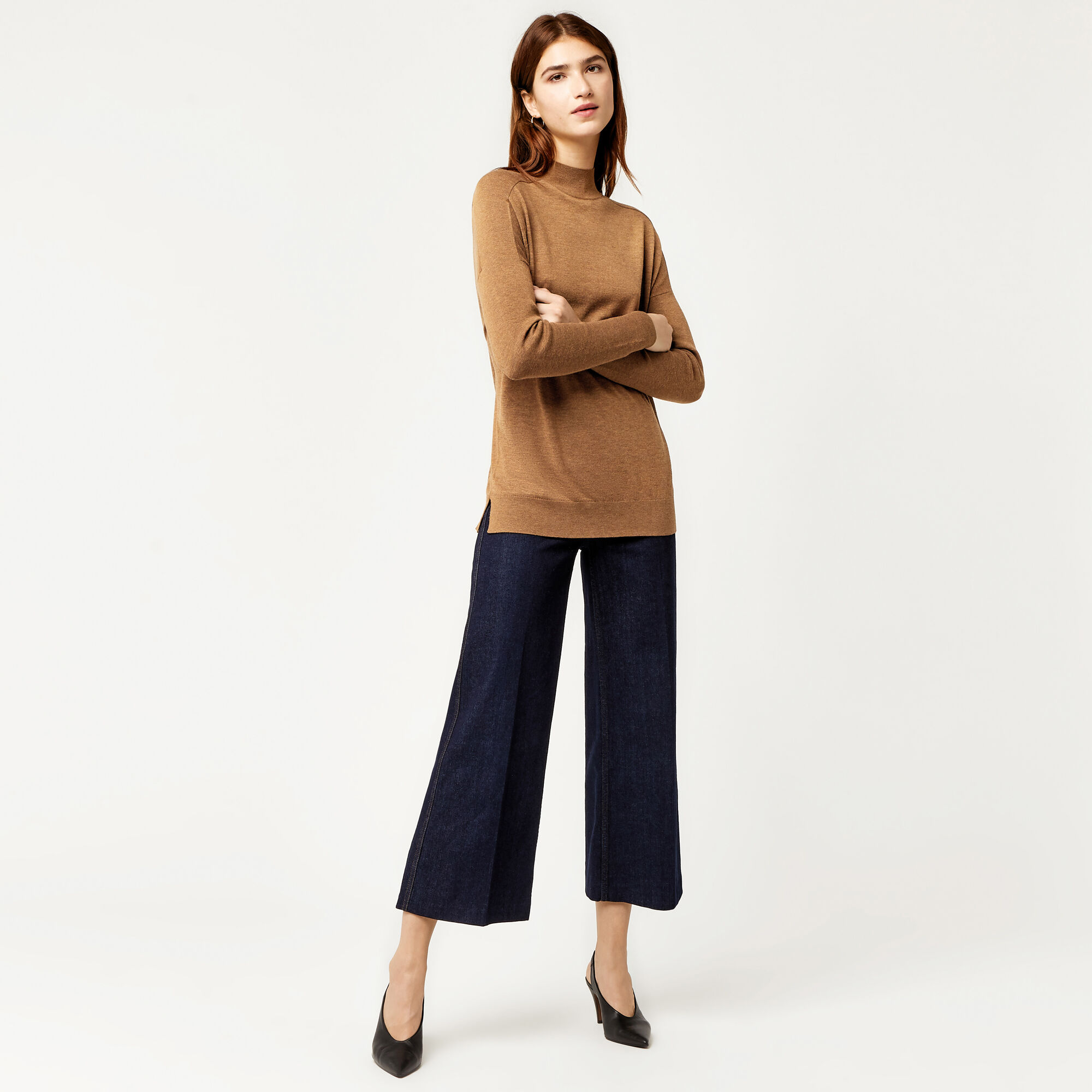 Warehouse, BOXY FUNNEL NECK JUMPER Mustard 1