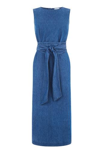 Warehouse, Tie Front Dress Mid Wash Denim 0