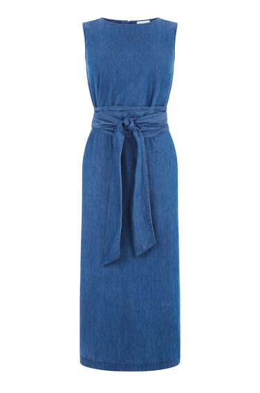 Warehouse, Tie Front Dress Mid Wash Denim 0