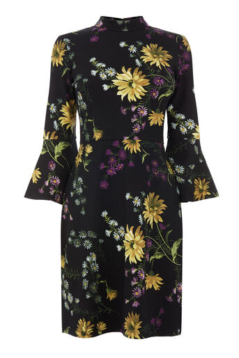 Warehouse, DUTCH FLORAL PONTE DRESS Black Pattern 0