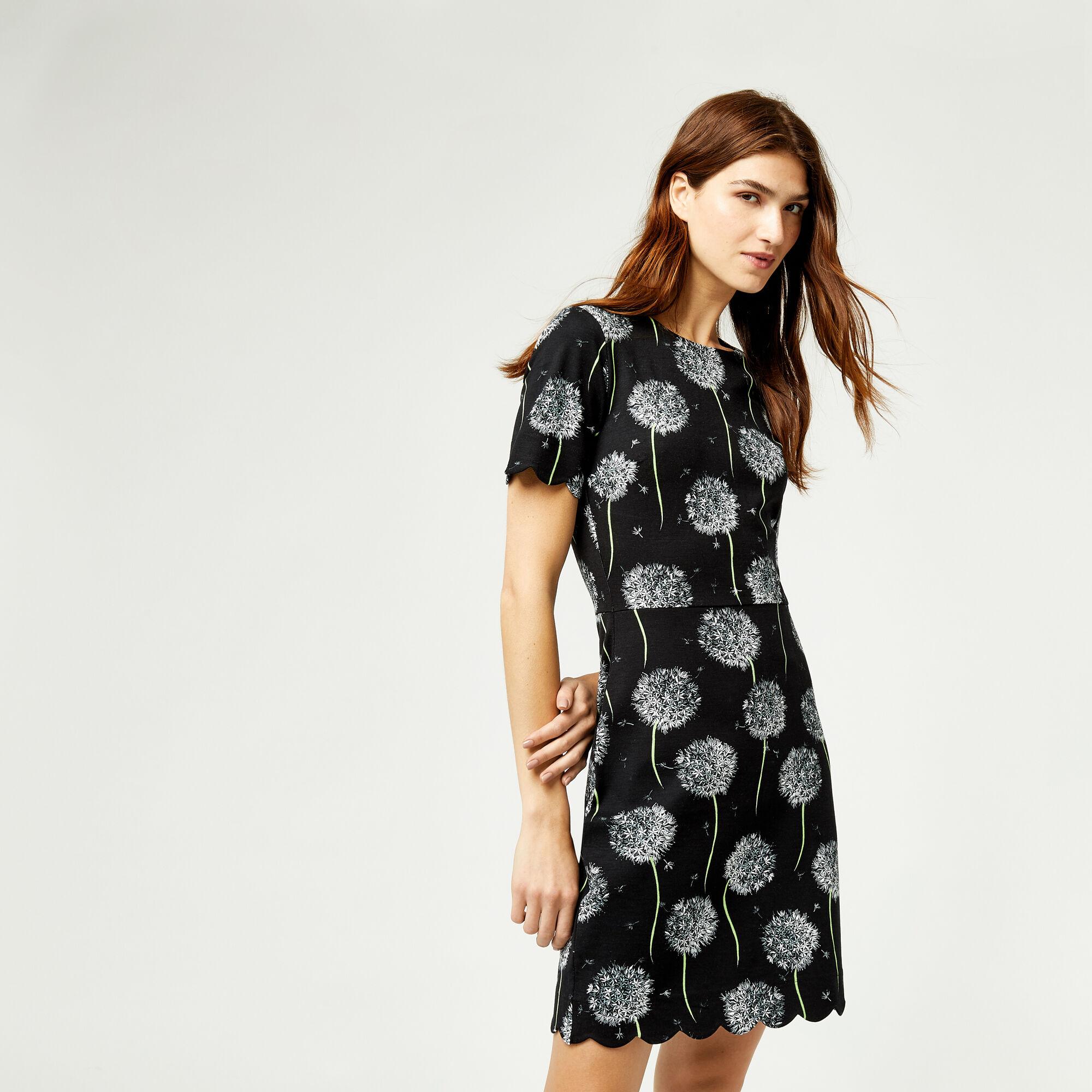 Warehouse, DANDELION PRINT SCALLOP DRESS Black Pattern 1