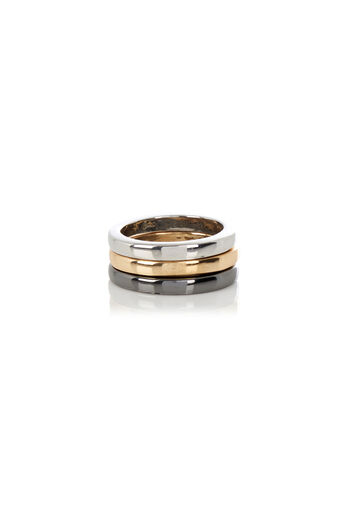 Warehouse, Layered Plain Band Ring Pewter 0