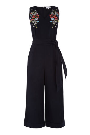 Warehouse, FREIDA EMBROIDERED JUMPSUIT Navy 0