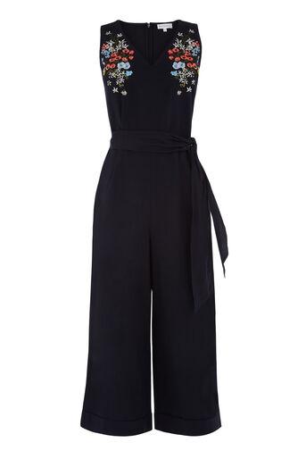 Warehouse, Combi-pantalon brodée Freida Bleu marine 0