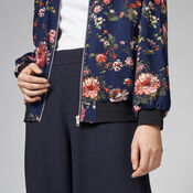 Warehouse, PAINTED FLORAL BOMBER JACKET Blue Pattern 4
