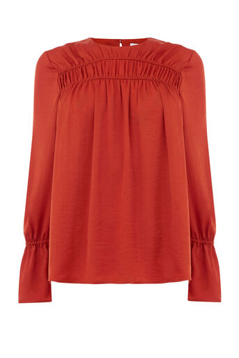 Warehouse, RUCHED SATIN TOP Orange 0