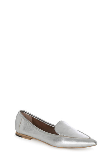 Warehouse, Pointed Loafer Silver Colour 0