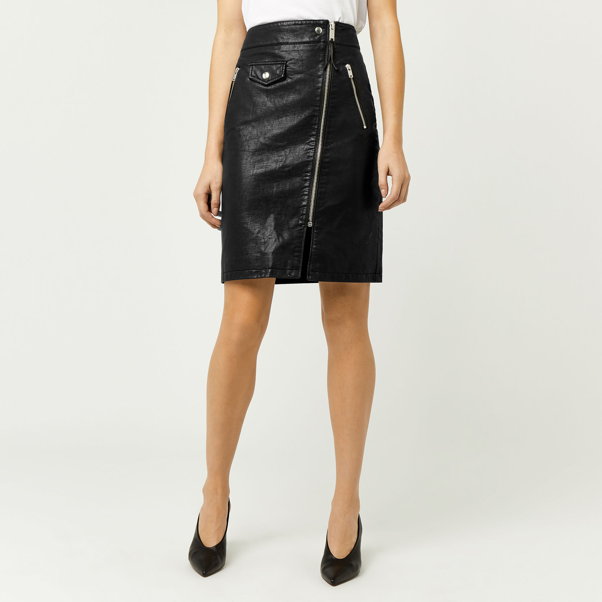 Warehouse, Biker Zip Skirt Black 1