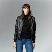 Warehouse, Faux Leather Bomber Jacket Black 1