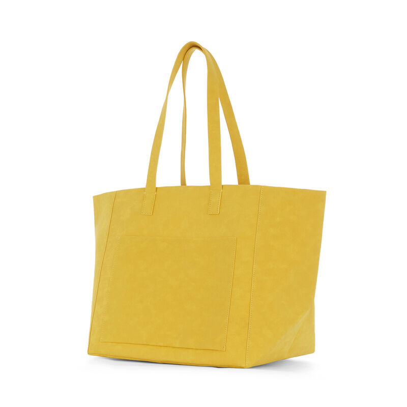 Warehouse, EMBOSSED SOFT POCKET TOTE Mustard 1
