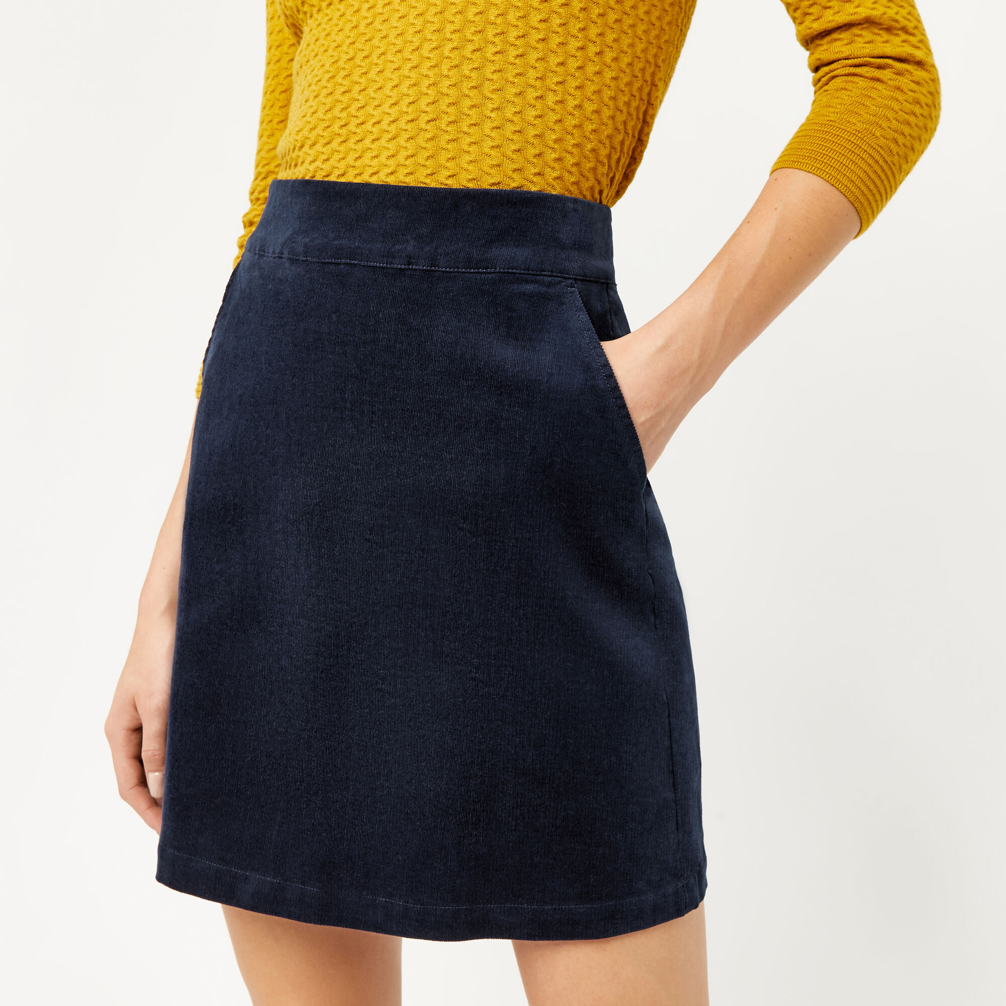 Warehouse, CORD PELMET SKIRT Navy 1