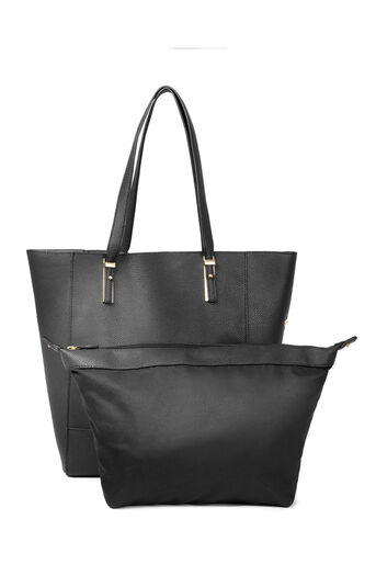 Warehouse, METAL PLATE DETAIL SHOPPER BAG Black 0