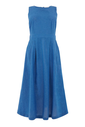 Warehouse, TIE BACK MIDI DRESS Bright Blue 0