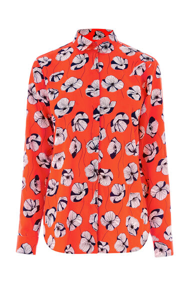 Warehouse, FLOATING FLORAL BLOUSE Orange 0