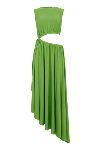Warehouse, SLINKY CUT OUT MIDI DRESS Bright Green 0