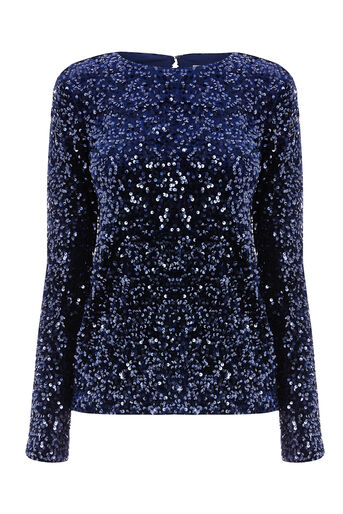 Warehouse, SEQUIN VELVET LONG SLEEVE TOP Navy 0