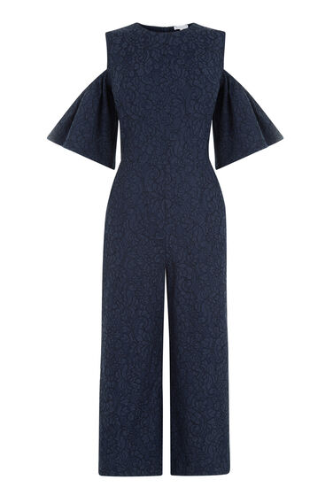 Warehouse, BONDED LACE JUMPSUIT Navy 0
