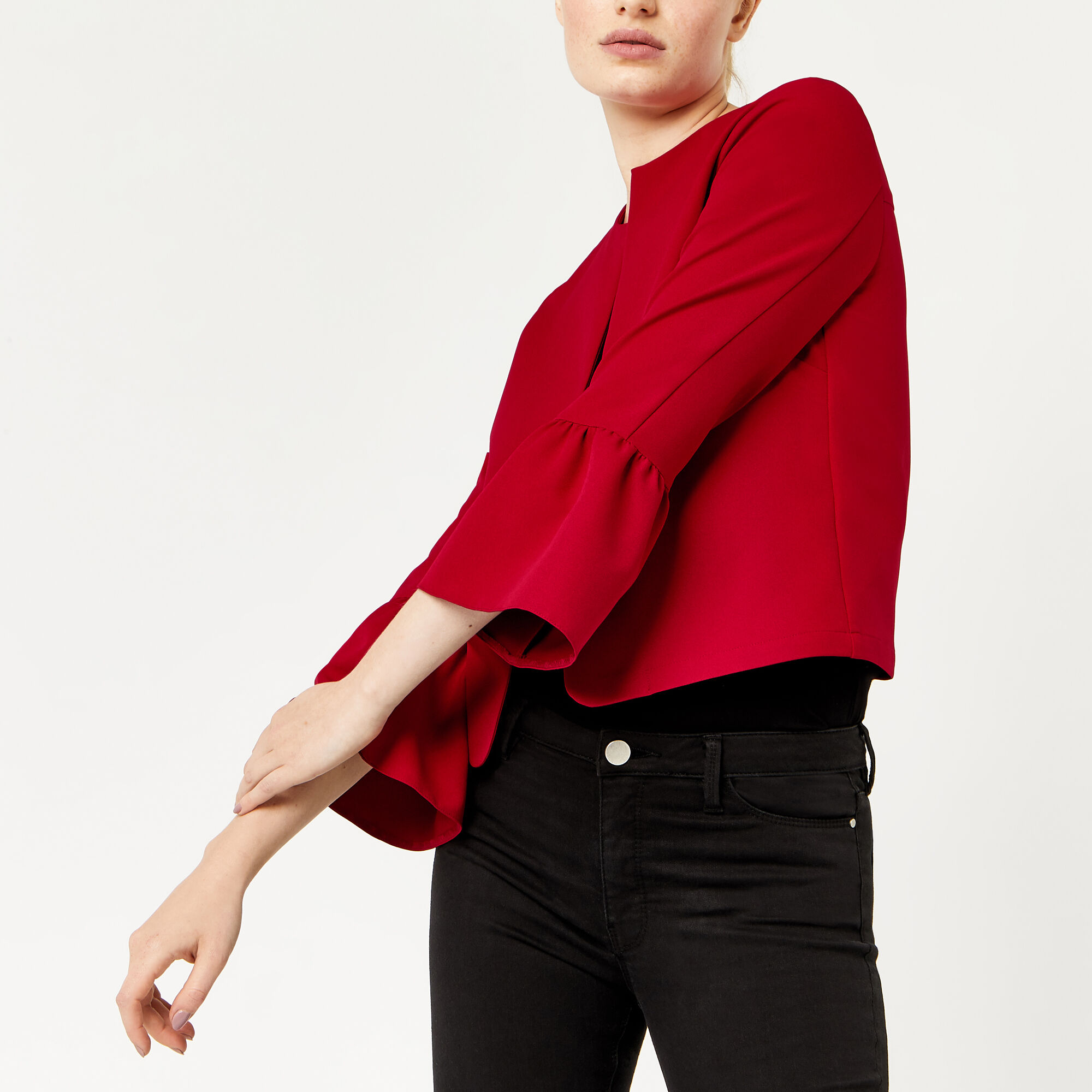 Warehouse, FLUTE SLEEVE JACKET Bright Red 1