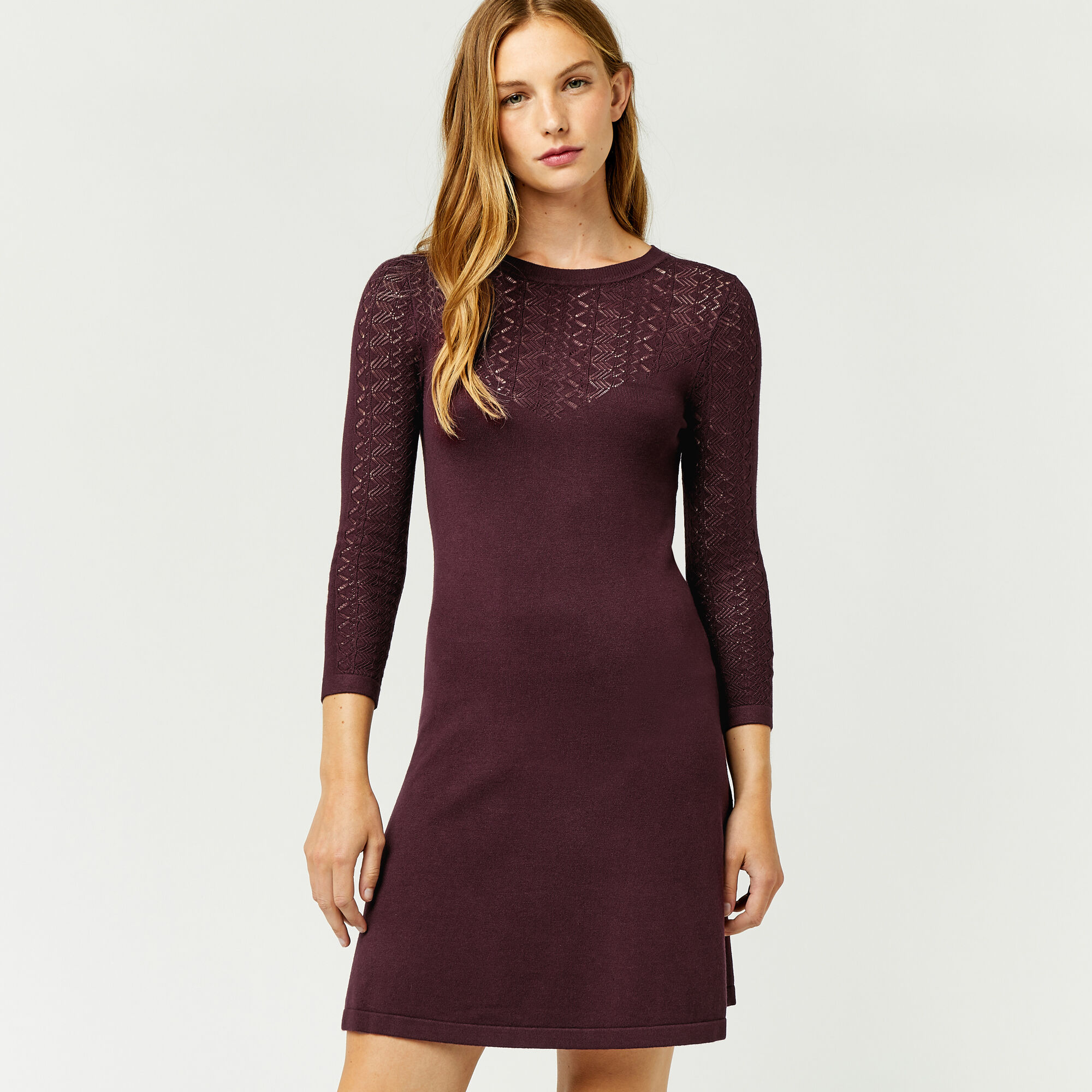 Warehouse, PRETTY STITCH YOKE KNIT DRESS Berry 1