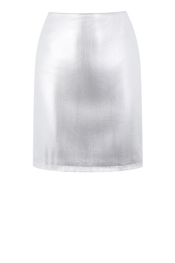 Warehouse, METALLIC FAUX LEATHER SKIRT Silver Colour 0
