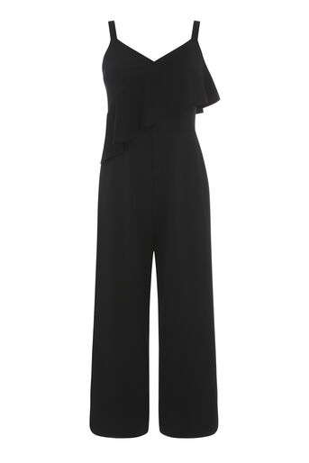 Warehouse, STRAPPY FRILL CREPE JUMPSUIT Black 0