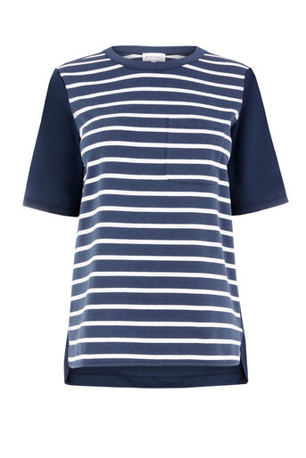 Warehouse, COTTON BACK STRIPE POCKET TEE Navy 0
