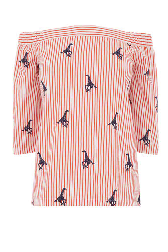 Warehouse, GIRAFFE EMBROIDERED TOP Red Stripe 0