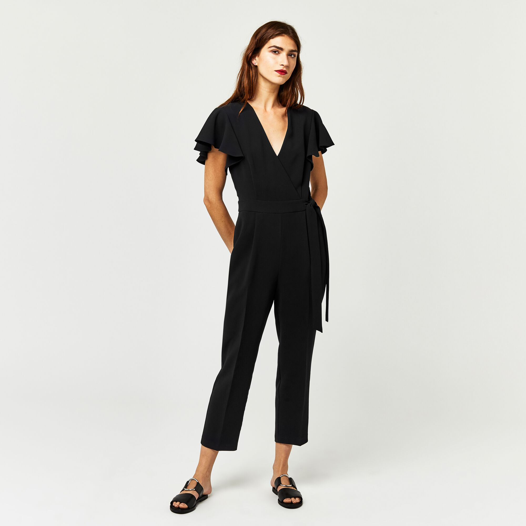 Warehouse, FRILL SLEEVE JUMPSUIT Black 1
