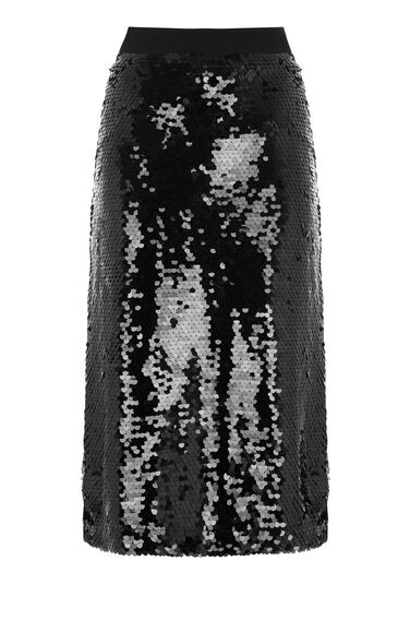 Warehouse, DISC SEQUIN SKIRT Black 0