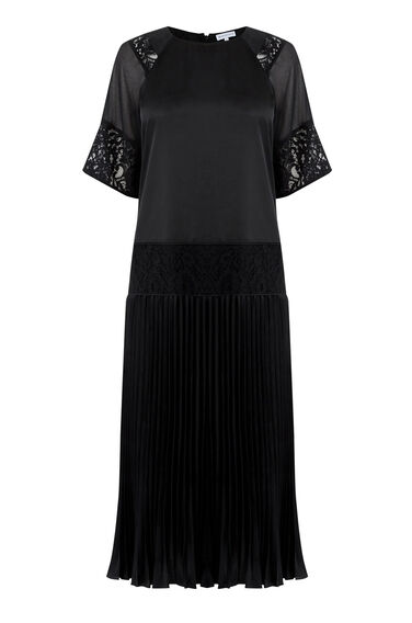 Warehouse, LACE INSERT PLEATED MIDI DRESS Black 0
