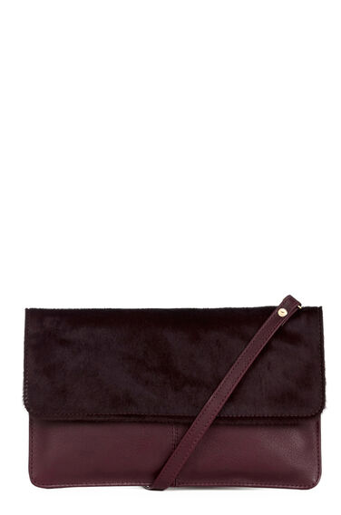 Warehouse, Pony Leather Crossbody Bag Berry 0