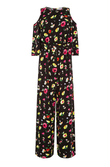 Warehouse, WOODSTOCK FLORAL JUMPSUIT Black Pattern 0