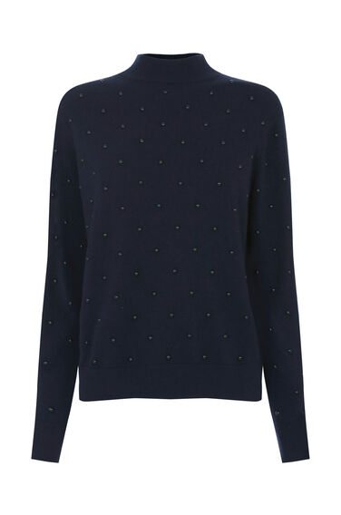 Warehouse, PEARL HIGH NECK JUMPER Navy 0