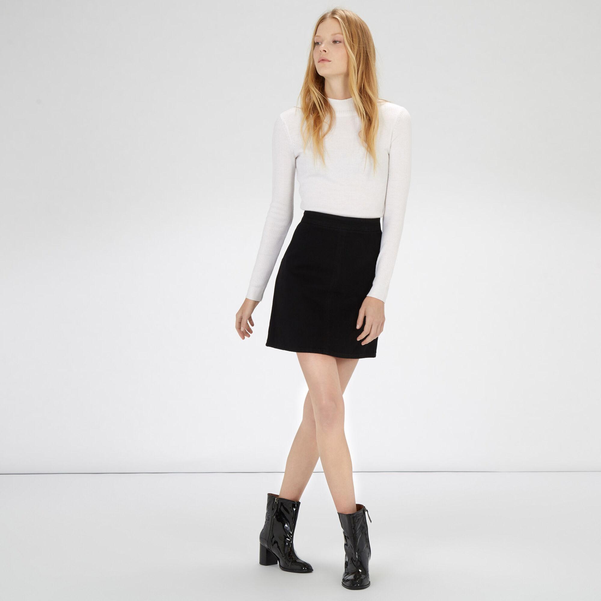 Warehouse, Denim Pelmet Skirt Black 1