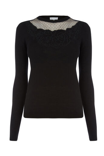 Warehouse, FLORAL EMBROIDERED JUMPER Black 0