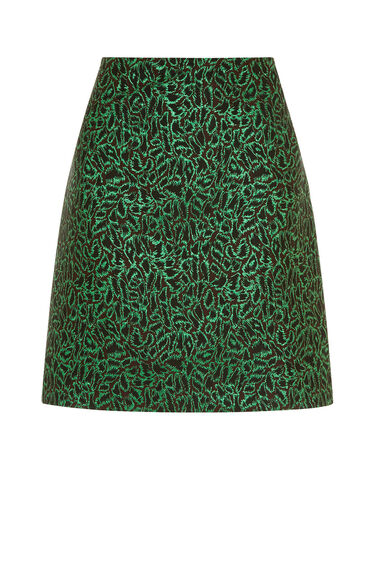 Warehouse, DISCO LEOPARD JACQUARD SKIRT Bright Green 0