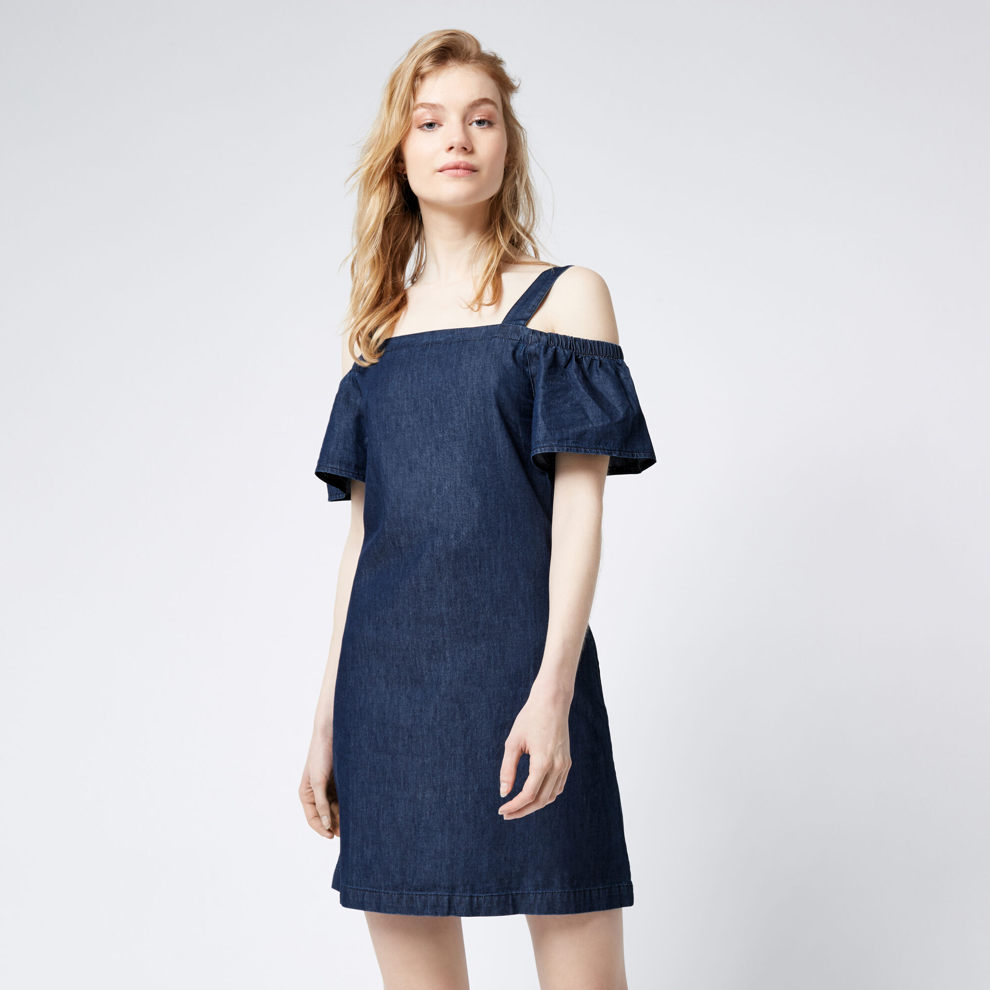 Warehouse, Cut Out Angel Sleeve Dress Mid Wash Denim 1