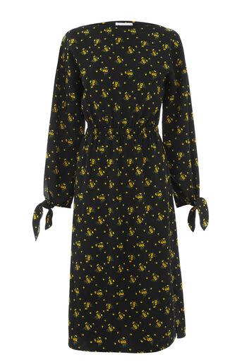 Warehouse, DAISY BUNCH TIE SLEEVE DRESS Black Pattern 0