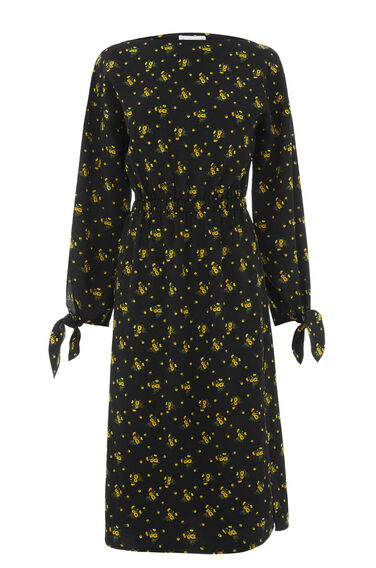 Warehouse, DAISY BUNCH TIE SLEEVE DRESS Black Pattern 0