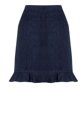 Warehouse, Frill Hem Denim Skirt Indigo Denim 0
