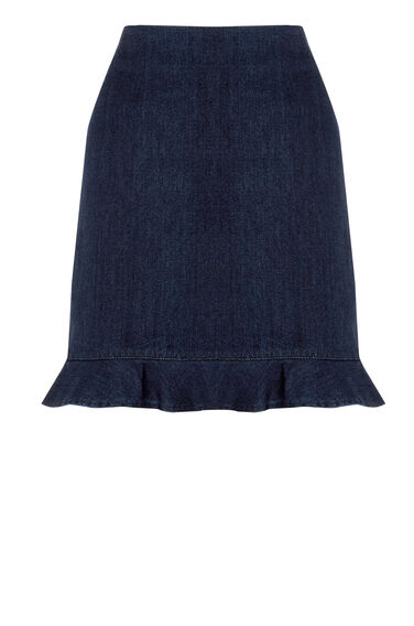 Warehouse, Frill Hem Denim Skirt Indigo Denim 0