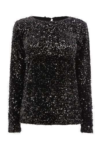 Warehouse, SEQUIN VELVET LONG SLEEVE TOP Black 0