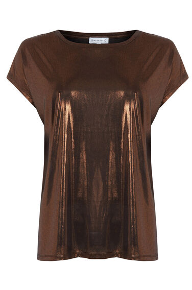 Warehouse, SLINKY LAMÉ TEE Bronze Colour 0