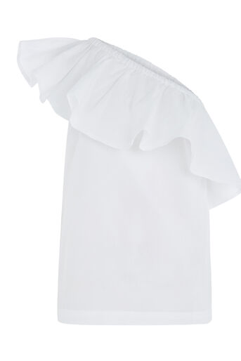 Warehouse, COTTON RUFFLE ONE SHOULDER TOP White 0