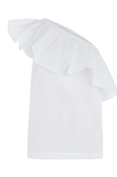 Warehouse, COTTON RUFFLE SHOULDER TOP White 0