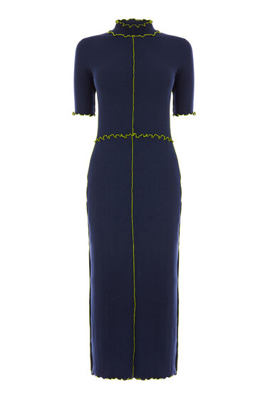 Warehouse, MINI RIB FRILL DRESS Navy 0