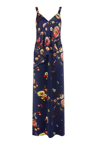 Warehouse, PAINTED FLORAL MAXI DRESS Blue Pattern 0