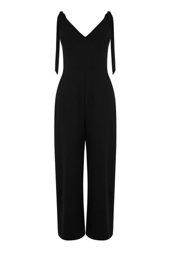 Warehouse, CREPE TIE SHOULDER JUMPSUIT Black 0