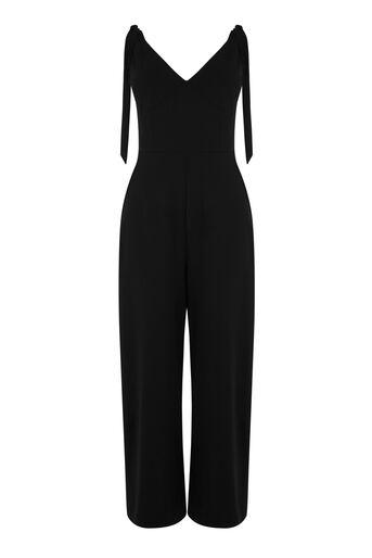 Warehouse, Jumpsuit van crêpe met gestrikte schouders Zwart 0