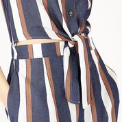 Warehouse, Stripe Tie Front Dress Blue Stripe 4